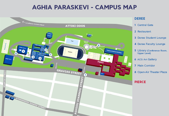 Athens Campus Map.The American College Of Greece Campus Map
