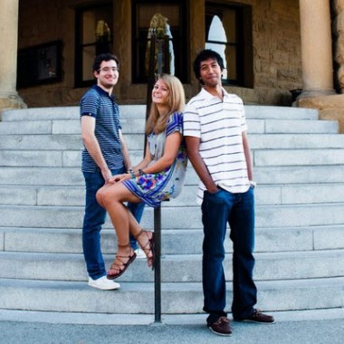 Deree students, now alumni, George Moros (D '12), Ellie Martin (D '14), and Mark Kethisouaran (D '13) on the Stanford campus in Palo Alto, California, in 2011. They were among the first Deree honors students to participate in Stanford's International Honors Summer Program.