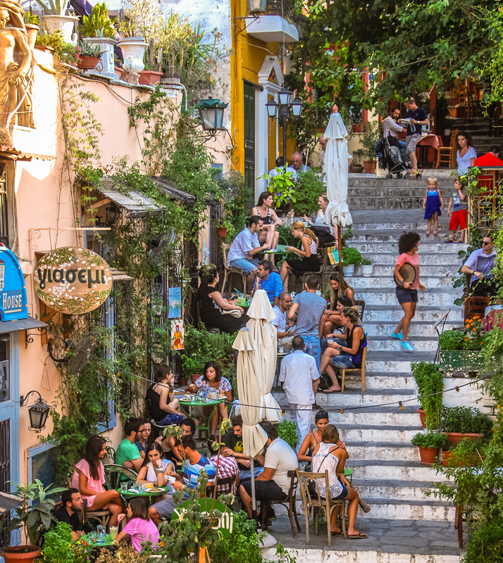 People on the stairs in the Plaka district of Athens