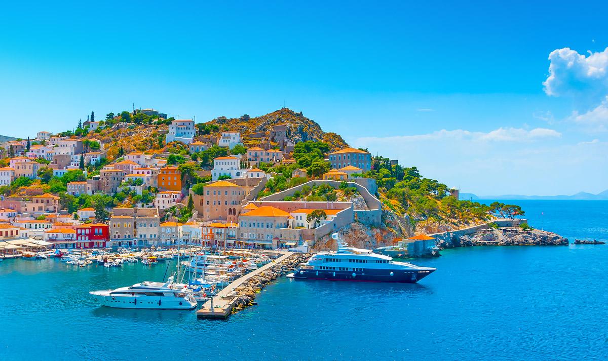 port of Hydra island in Greece