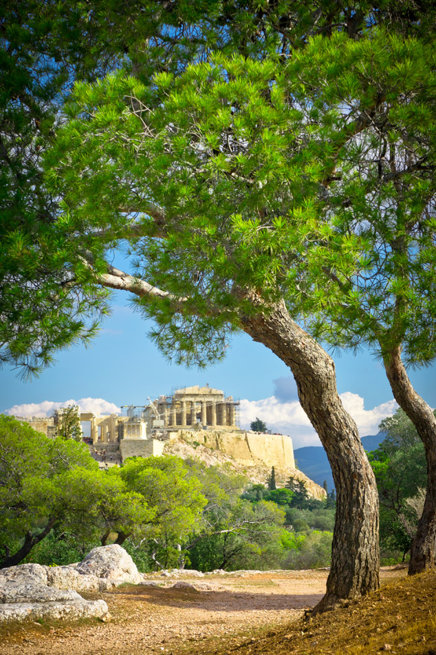 view of ancient Acropolis Athens Greece